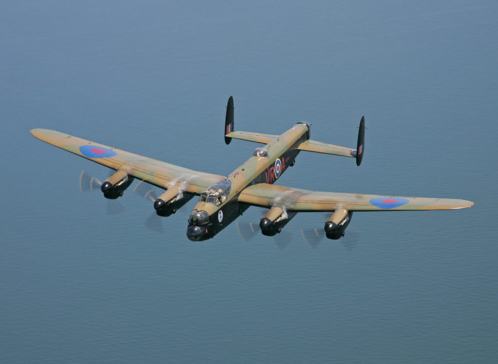 lancaster flying over water